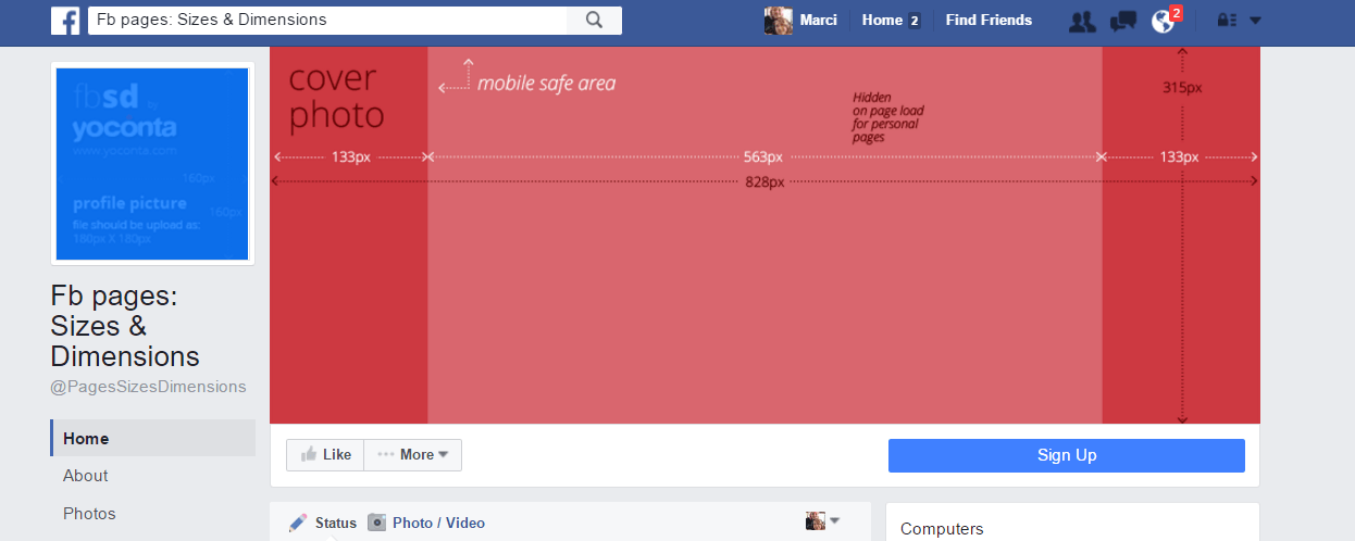 Facebook dimentions