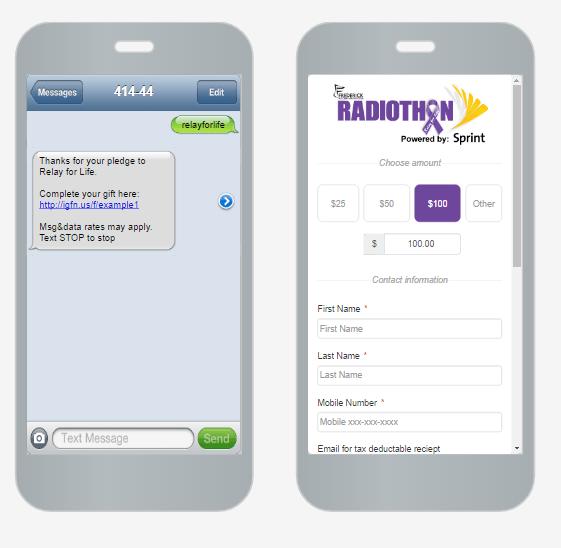 TexttoDonate Screens
